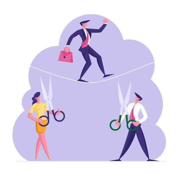 business-man-trying-cross-obstacle-balance-rope-while-his-opponents_1016-5200